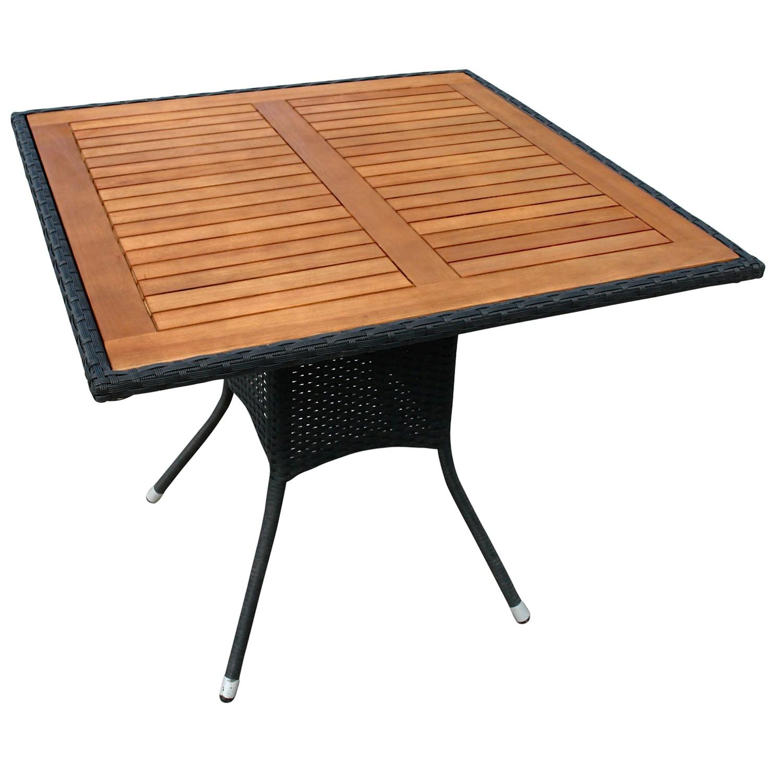 balkontisch terrassentisch garten tisch quadratisch gartenm bel holz polyrattan. Black Bedroom Furniture Sets. Home Design Ideas