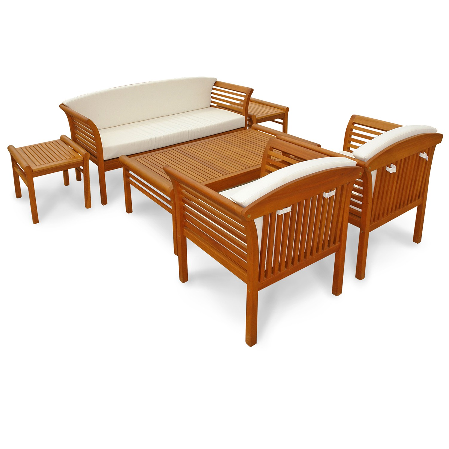 loungem bel garnitur gartenset sitzgruppe essgruppe gartenm bel set 6 tlg holz ebay. Black Bedroom Furniture Sets. Home Design Ideas