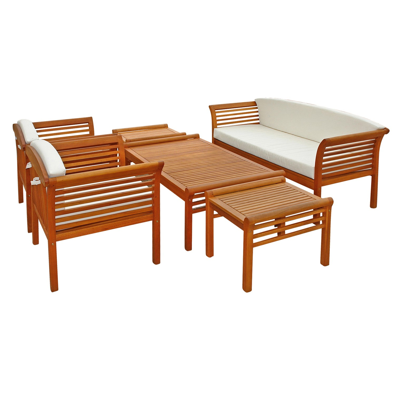 loungem bel garnitur gartenset sitzgruppe essgruppe gartenm bel set 6 tlg holz ebay. Black Bedroom Furniture Sets. Home Design Ideas
