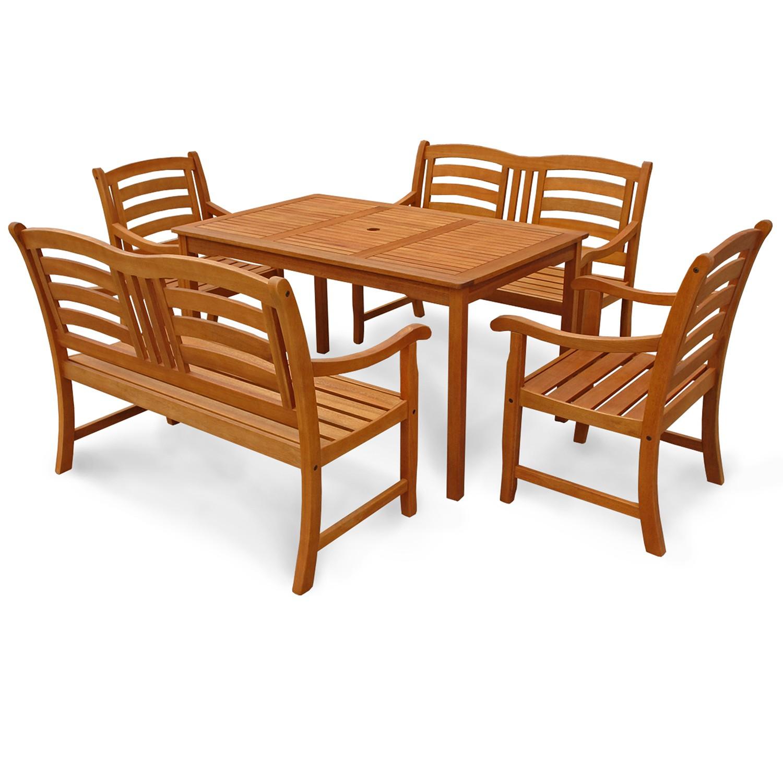 gartenm bel set garten sitzgruppe garnitur tisch 2 b nke 2 st hle holz wie teak ebay. Black Bedroom Furniture Sets. Home Design Ideas
