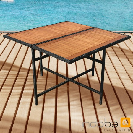 gartentisch esstisch tisch quadratisch gartenm bel polyrattan und holz indoba ebay. Black Bedroom Furniture Sets. Home Design Ideas