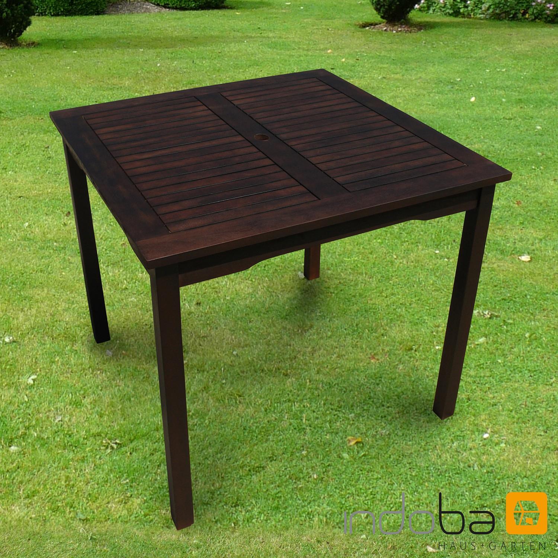 restposten gartentisch esstisch aus dunklem holz quadratisch provence indoba ebay. Black Bedroom Furniture Sets. Home Design Ideas