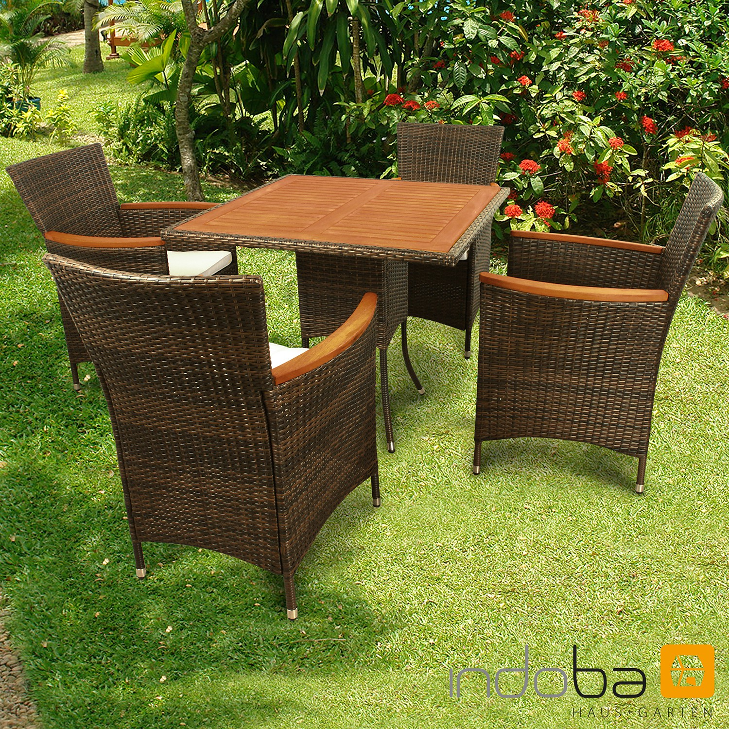 gartenm bel set 5 teilig valencia polyrattan braun gartenset serie valencia ind 70117. Black Bedroom Furniture Sets. Home Design Ideas