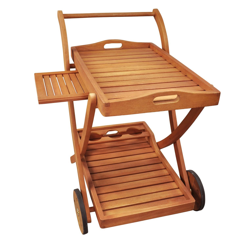 servierwagen teewagen f r garten aus holz flaschenhalter tablett abnehmbar ebay. Black Bedroom Furniture Sets. Home Design Ideas