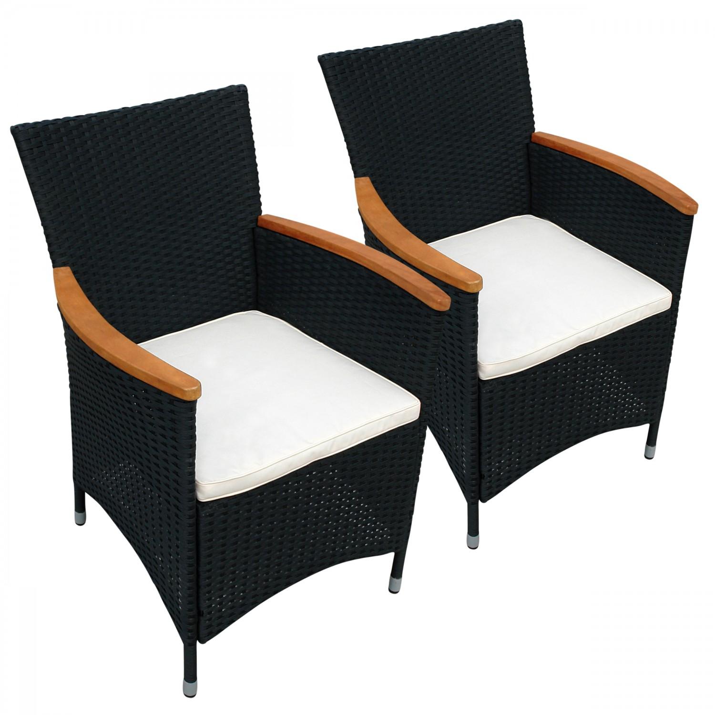 2 x gartenstuhl aus polyrattan mit armlehnen aus holz hochwertige verarbeitung ebay. Black Bedroom Furniture Sets. Home Design Ideas