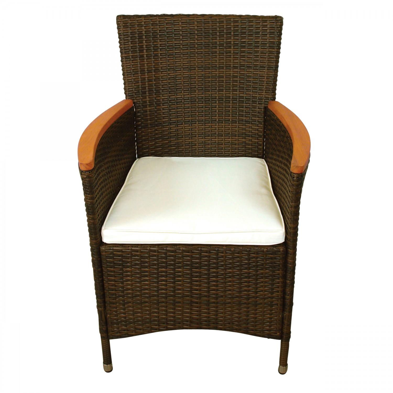 2 x gartenstuhl gartensessel aus polyrattan und holz ebay. Black Bedroom Furniture Sets. Home Design Ideas