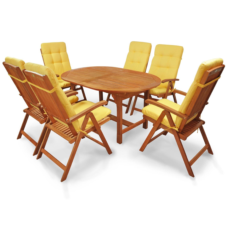gartenm bel set 13 tlg holz polsterauflagen gelb ebay. Black Bedroom Furniture Sets. Home Design Ideas