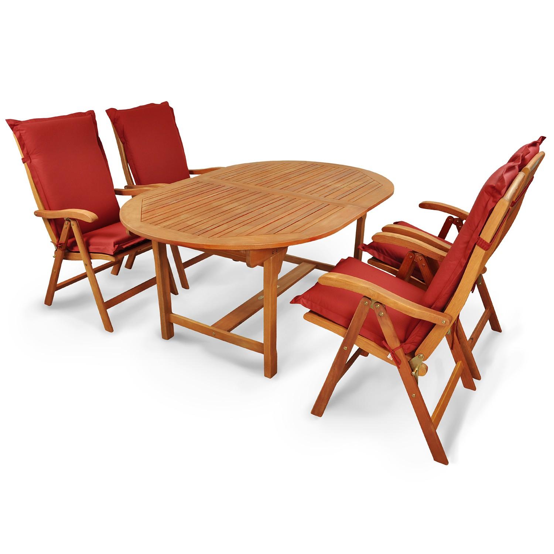 Gartengarnitur 9-tlg Holz + Polsterauflagen Rot | eBay