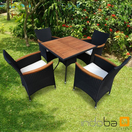 gartenm bel sitzgruppe gartenset essgruppe garnitur set 5 tlg polyrattan indoba ebay. Black Bedroom Furniture Sets. Home Design Ideas