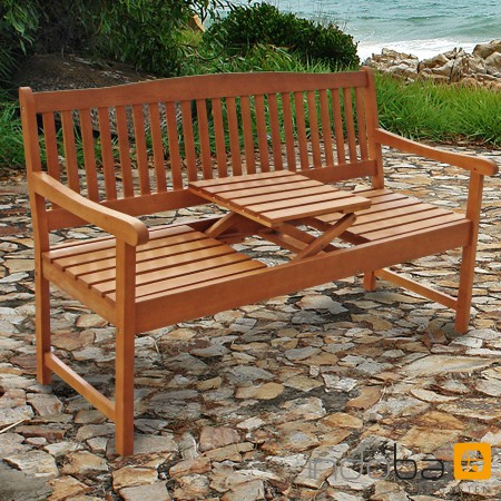 gartenbank mit integriertem klapptisch aus holz serie sun flair von indoba ebay. Black Bedroom Furniture Sets. Home Design Ideas
