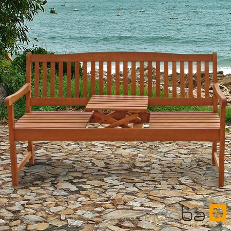 gartenbank mit integriertem klapptisch aus holz serie sun. Black Bedroom Furniture Sets. Home Design Ideas