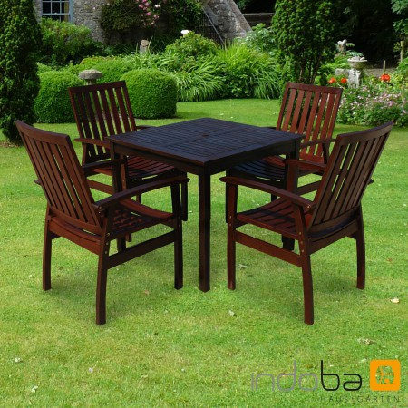 gartenm bel set 5 tlg holz dunkel 4 st hle tisch serie provence von indoba ebay. Black Bedroom Furniture Sets. Home Design Ideas