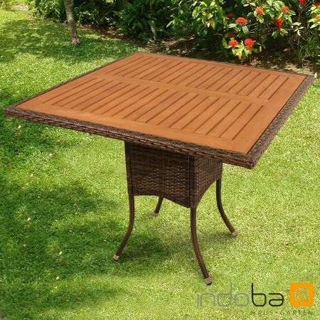 gartentisch balkontisch aus polyrattan quadratisch serie valencia indoba ebay. Black Bedroom Furniture Sets. Home Design Ideas