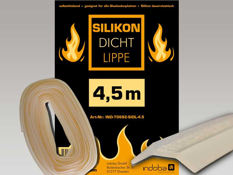Silikon - Glasplattendichtung 4,5 m, Dichtlippe für Funkenschutzplatte